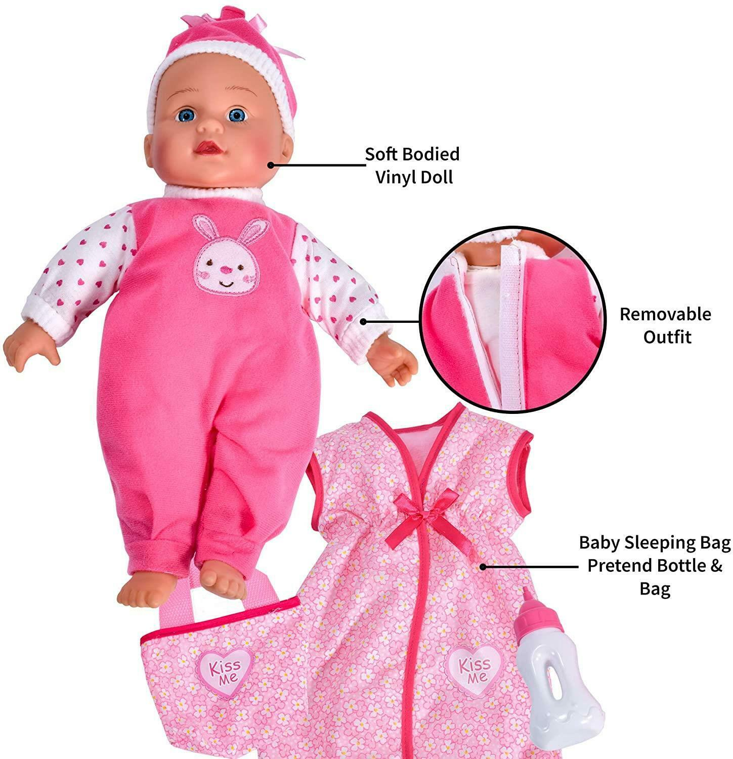 """13"""" Lifelike Large Baby Doll Girls Boys Soft Bodied With Sleep Bag & Accessories"""