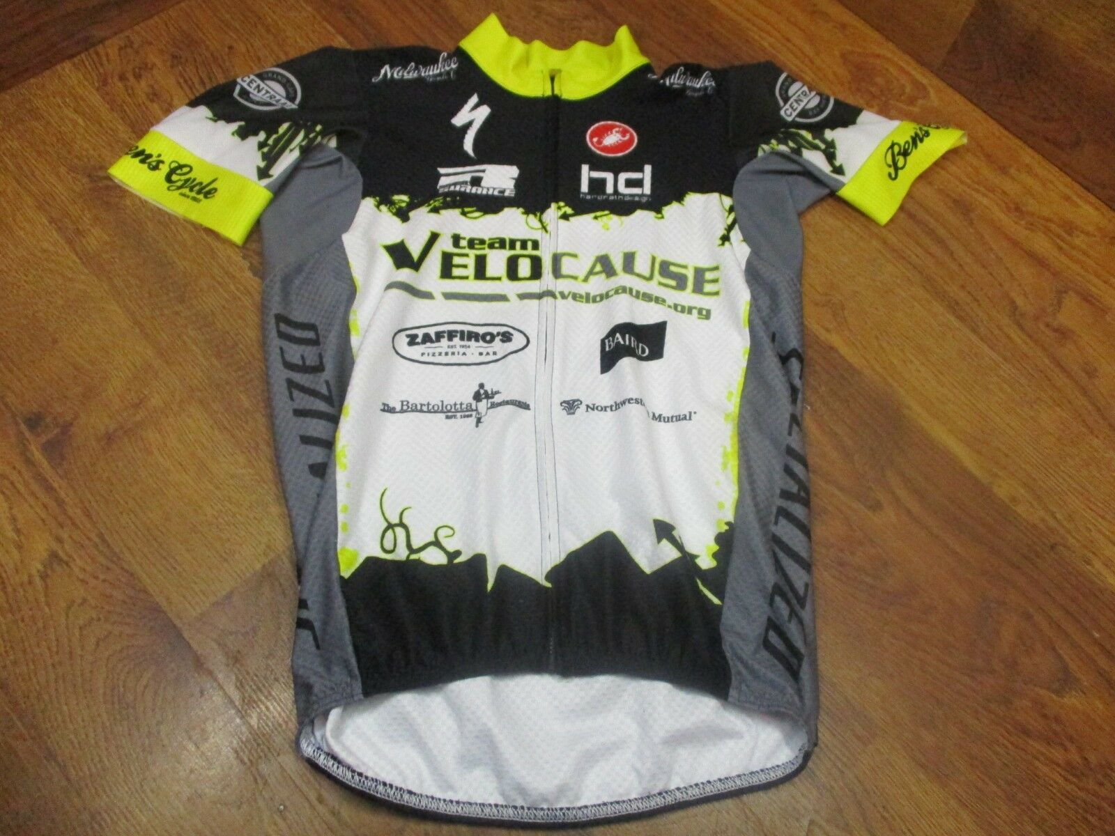 TEAM VELOCAUSE by CASTELLI SHORT SLEEVE FULL ZIP CYCLING RACE  JERSEY - MENS MED  the best after-sale service