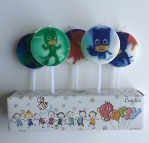Image Is Loading PJ MASKS CANDLES 5 PIECE PACK HAPPY BIRTHDAY