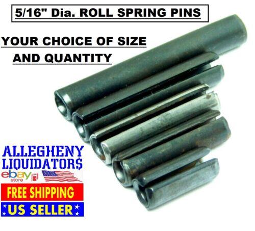 "VARIOUS LENGTHS x 5//16/"" DIAMETER PLAIN BLACK STEEL ROLL SPRING PINS USA NH"