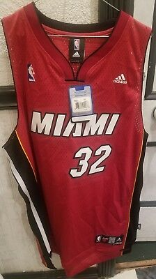 3e8c707d6 NWT Adidas Miami Heat Shaquille O Neal Jersey Mens Large Sewn Red Shaq 32  Wade