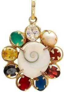 Gold Plated Good Fortune Gomati Chakra Navratan / Navratna Stone Pendant Jewelry