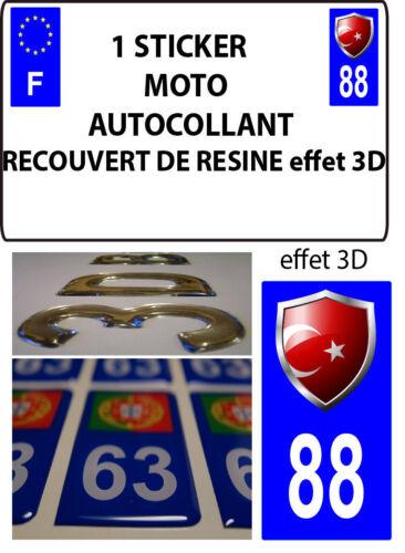 1 sticker plaque immatriculation MOTO DOMING 3D RESINE  BLASON TURQUIE DEPA 88