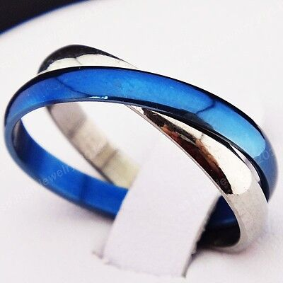 2-in-1 Blue Silver Titanium Stainless Steel Infinity Men's Women's Ring Sz 5-10#