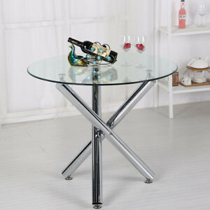 Details About Small Clear Tempered Gl Dining Kitchen Table Cafe Style Cross Chrome Leg Home