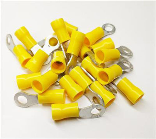50 X 6MM YELLOW RING RINGS EYELET CRIMP TERMINALS WIRE CONNECTORS WT51 0BA