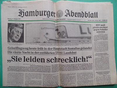 Effizient Tageszeitung 1977 - Raf (mogadischu, Schleyer Entführung)