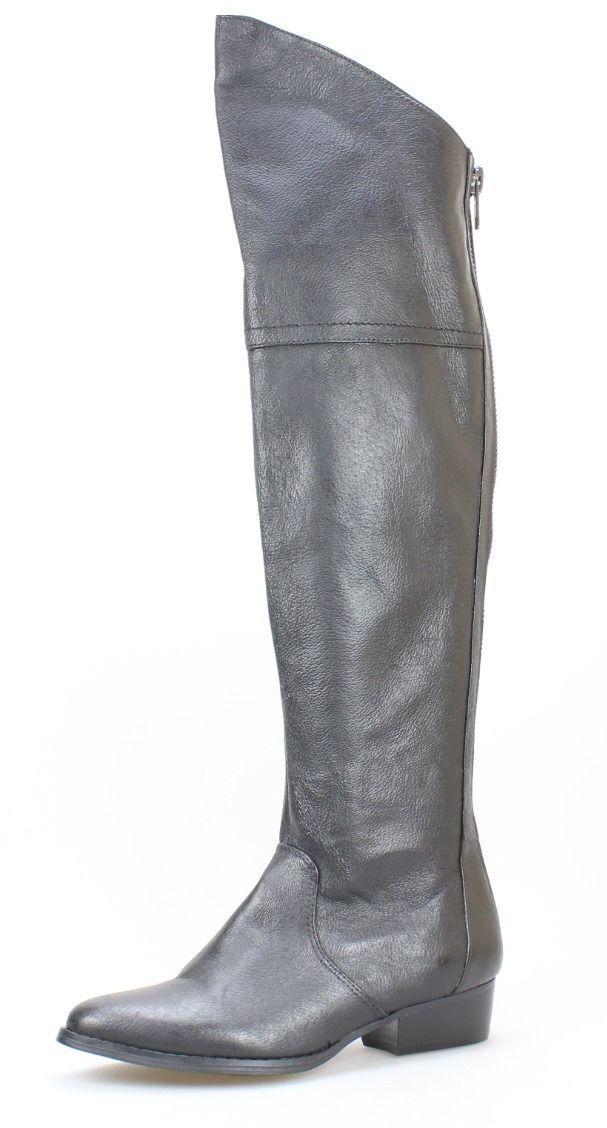 Steve Madden Women's Black Leather Koma Over Knee Leather Boots 189
