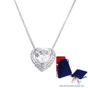 Luxus-Herz-Anhaenger-Echt-925-Silber-Herzkette-Damen-Kette-Halskette-Geschenk