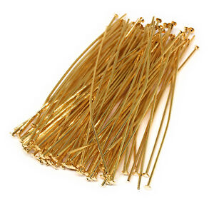 gold plated headpins 2 inch 21 gauge