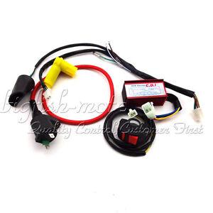 racing cdi ignition coil kill switch wiring loom harness pit dirt bike 50 160cc ebay