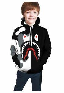 Blood Shark Sweatshirts for Boys Soft Teens Hoodies Plus Velvet Hoody X-Large