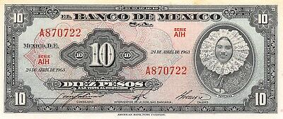 Mexico México 10 Pesos 24.4.1963 Series Aih Prefix A Uncirculated Banknote M3 Regular Tea Drinking Improves Your Health