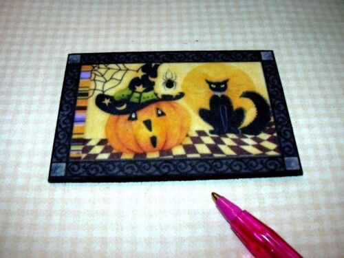 Miniature BLACK CAT//PUMPKIN Halloween Door Welcome Mat DOLLHOUSE Miniatures 1:12