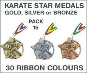 PACK-OF-15-1-30-each-Karate-Star-Medals-amp-Ribbon-60mm-Metal-Ref-SM21-MR1