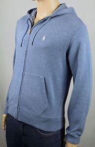 Polo Ralph Lauren Small S Blue Hoodie Zip Sweatshirt White Pony NWT