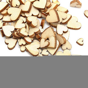 100pcs Rustic Wooden Love Heart Wedding Table Scatter Decoration Crafts -
