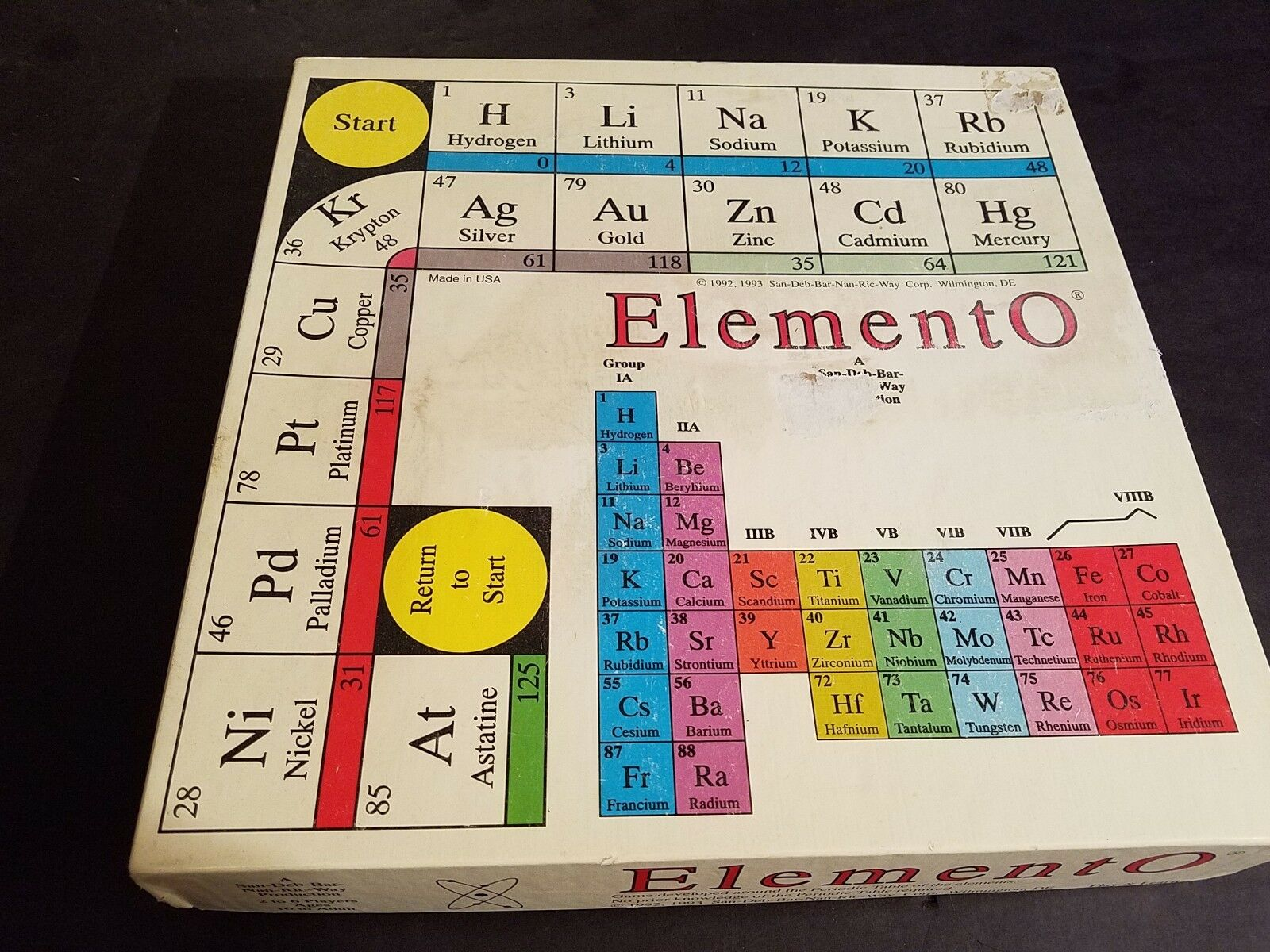 ELEMENTO-1993 original edition educational board game--Learn the Periodic Table