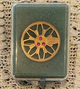 Rare 10K Gold w/ 3 Ruby Vintage Texaco Gas Oil Employee Service Award Round Pin