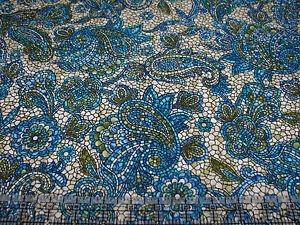 1 Yard Quilt Cotton Fabric- Benartex Byzantium Mosaic Paisley Flower Blue Cream