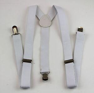 WHITE-SUSPENDERS-Women-Mens-MEN-039-S-Braces-Belt-85cms-Adjustable-Formal-Casual