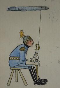 Kaiser-Wilhelm-II-mit-Zeppelin-Karikatur-Militaria-Bournemouth-England-1915