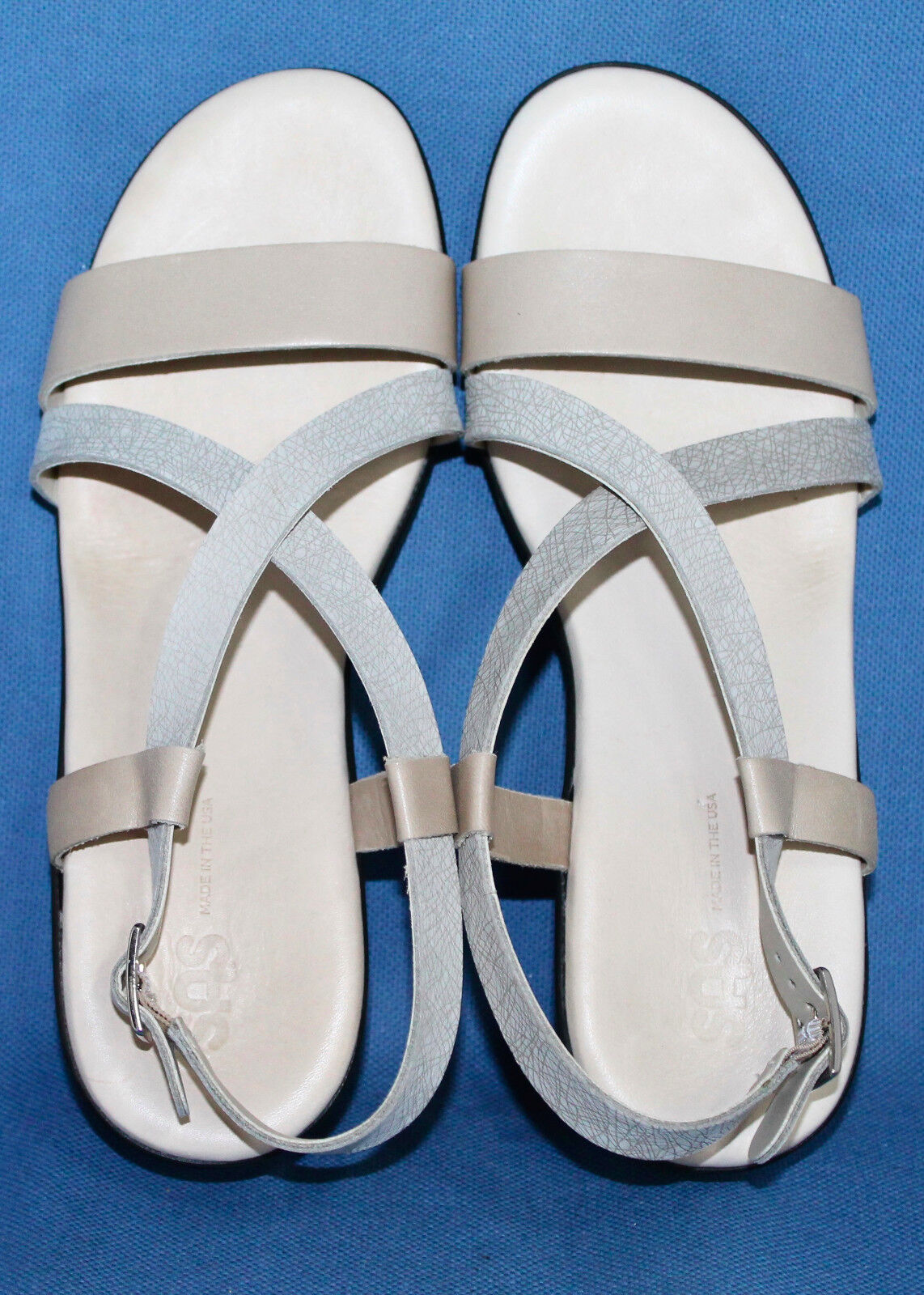 SAS Delight H6379551 Wedge Sandal Wo's 9.5M Linen Web Leather Leather Leather Slingback Strappy 02d455