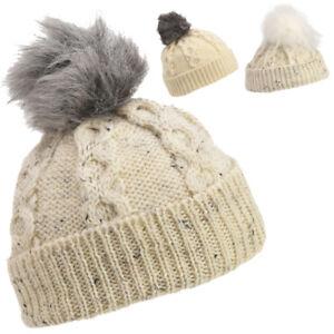 7a5f930ecf1 Lambland Mens Ladies Lambswool Warm Wool Aran Bob Hat Sheepskin ...