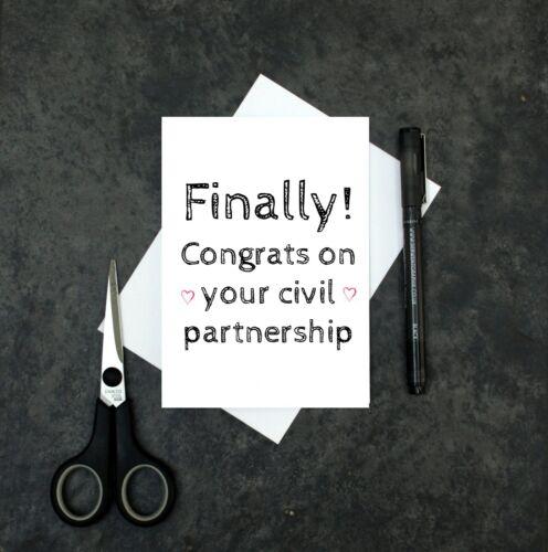 congratulations non wedding card funny civil partnership card finally card