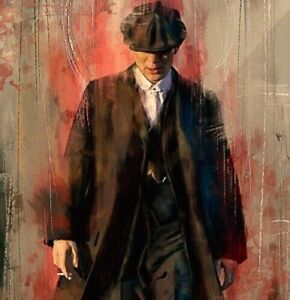 Peaky Blinders Tommy Shelby Printed Wall Art Canvas 22 x 16 Inch Pine Frame