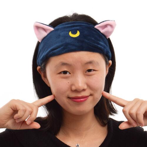 1pc Girls Plush Elastic Headband Moon Ears Pattern Hair Band Anime Cosplay Props