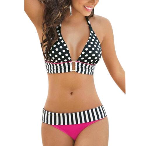 Damen Push-Up Bikini Set Oversize Badeanzug Padded Schwimmanzug Bademode punkt