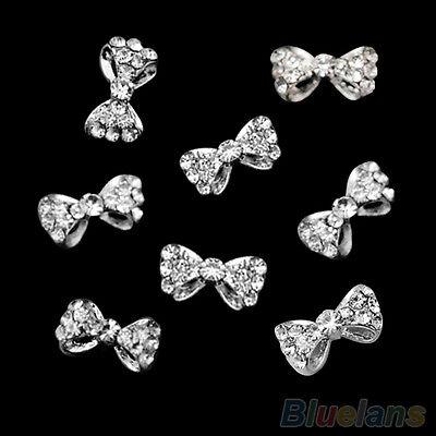 10pcs Nail Art Tips Stickers Decor Bowknot Cute Jewelry Multicolor Glitter Rhin