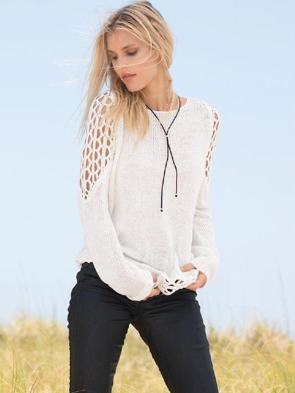 Elan Crochet Cold Shoulder Sweater