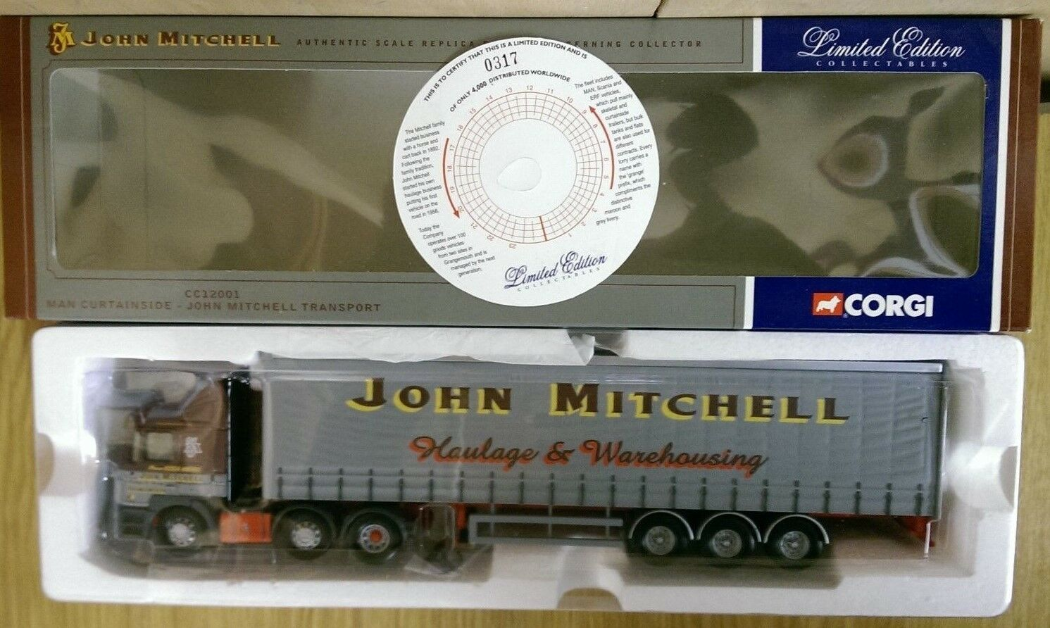 Corgi CC12001 MAN Curtainside John Mitchell Transport Ltd Ed No. 0317 of 4000