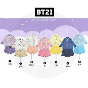 BTS-BT21-Official-Authentic-Goods-Three-quarter-sleeve-Pajamas-7Characters