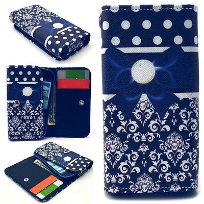 Blue Butterfly Knot Money Wallet Case Cover For Phone Asus Huawei Samsung