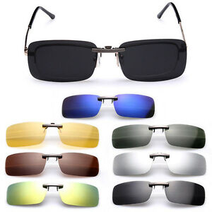 2d07c9d3f8 Details about Cool Sunglasses Polarized Clip On Flip-up Driving Glasses Day  Night Vision Lens