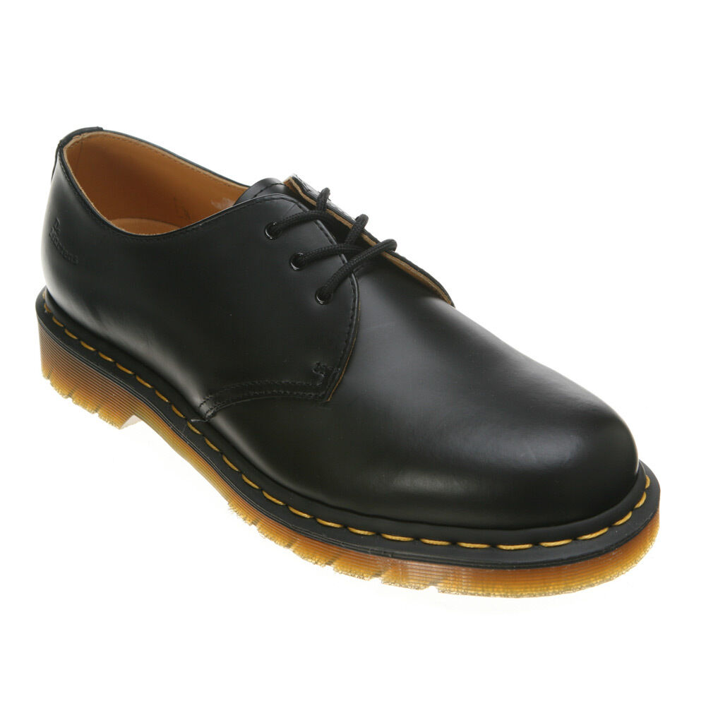 Mens Dr Martens 1461 3 Eye Gibson Lace Up shoes Black Smooth R11838002