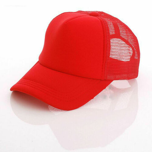 Trucker Hat Mesh Baseball Cap Snapback Adjustable Flat Visor Solid Hip Hop Mens