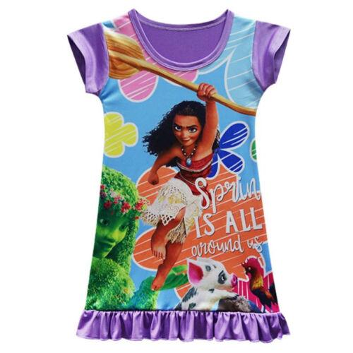 MOANA Movie Dress Baby Girls Princess Pajamas Dresses Film Character