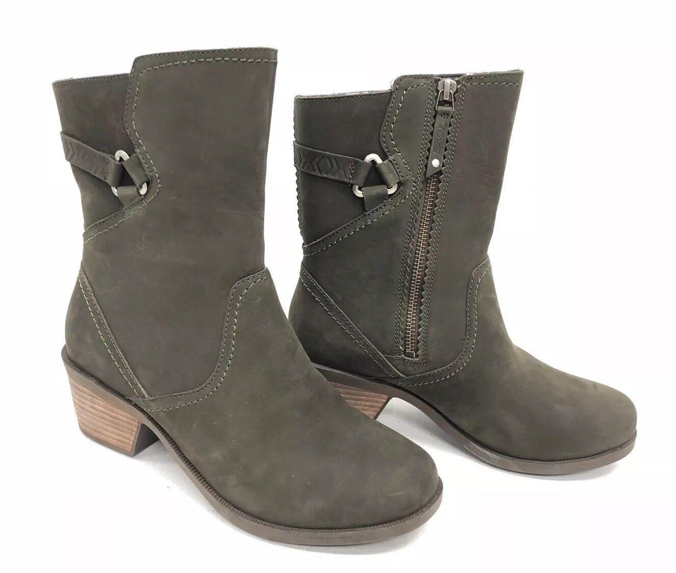 Teva Teva Teva Foxy Medio Negro de cuero nobuck Oliva Corto botas Tacón apilados para mujer 1008316  alta calidad