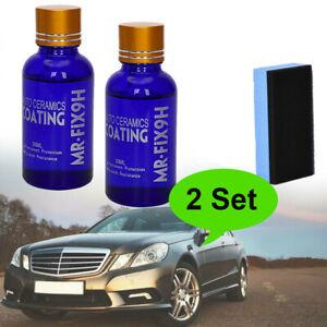 2x-9H-rivestimento-in-ceramica-Vernice-Cura-Auto-Vetro-nano-LIQUIDO-idrofobo-Auto-Polacco