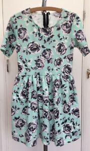 Glamorous-Floral-Mint-Green-Grey-White-Stretch-Skater-Summer-Dress-Fits-size-10