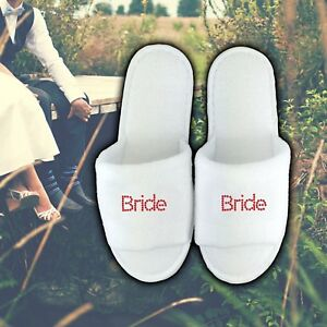 Image Is Loading Personalised Slippers Diamante Wedding Spa Guest Shoe Towelling