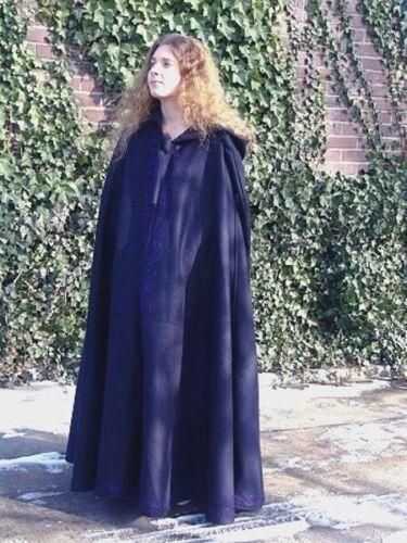 Moyen âge cape laine longue capuche brodé cape manteau moyen âge 13 NEUF