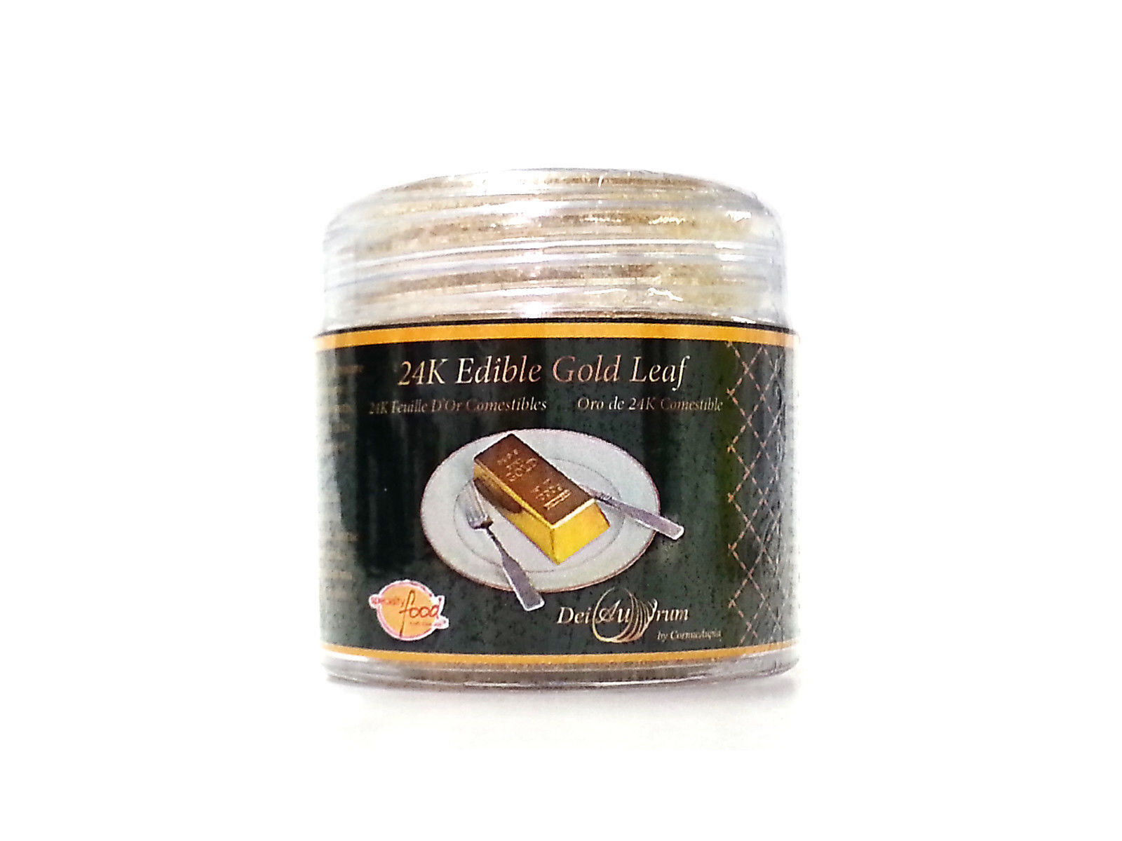 24K Edible Gold Leaf Powder, Jar, 0.500g