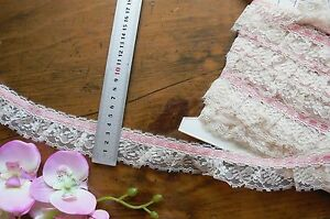 Poly-Single-Gather-CREAM-Lace-6mm-SALMON-PINK-SatinThread-Top-5Metres-4cmWideFRL