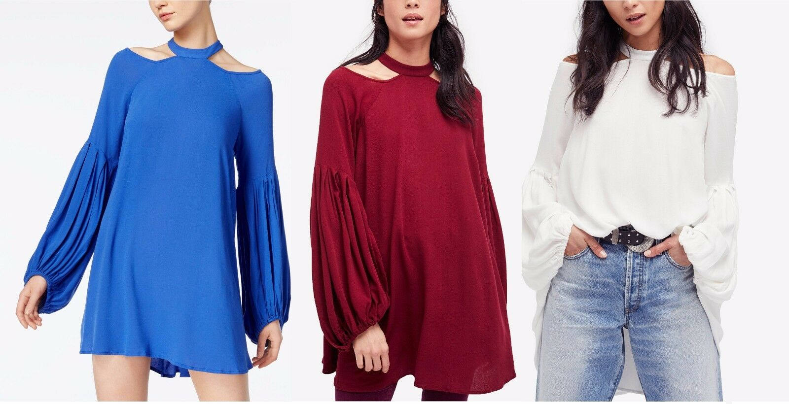 New Free People Woherren Fashion Cold Shoulder Drift Away tunic dress Top S M L