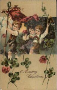 PFB-Christmas-Christmas-w-Homemade-Flag-c1910-Nicely-Embossed-Postcard